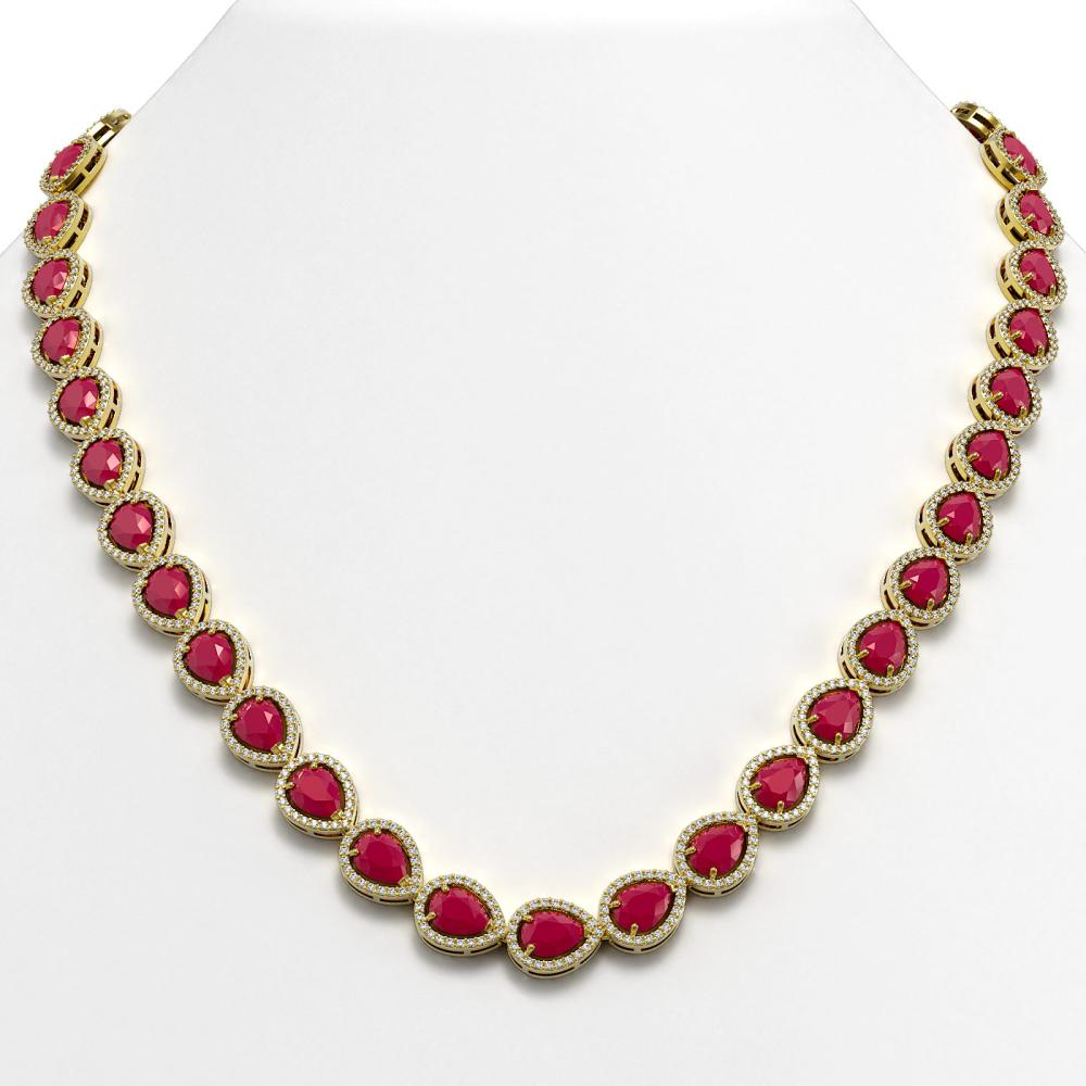 45.93 ctw Ruby & Diamond Halo Necklace 10K Yellow Gold - REF-674N2A - SKU:41047