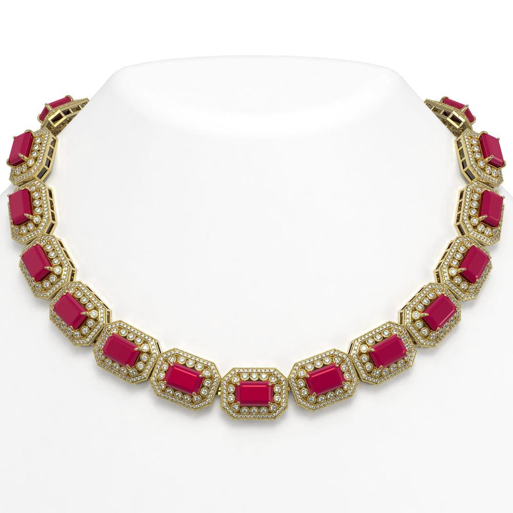 137.65 ctw Ruby & Diamond Necklace 14K Yellow Gold - REF-2875N6A - SKU:43465