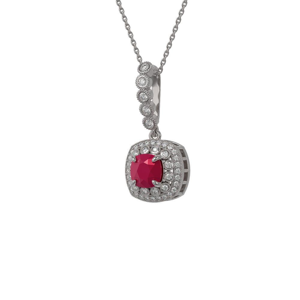 2.55 ctw Ruby & Diamond Necklace 14K White Gold - REF-77R8K - SKU:44075
