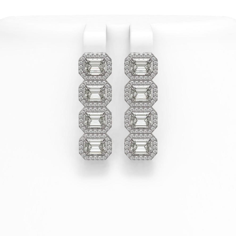 5.92 ctw Emerald Diamond Earrings 18K White Gold - REF-944K7W - SKU:42845