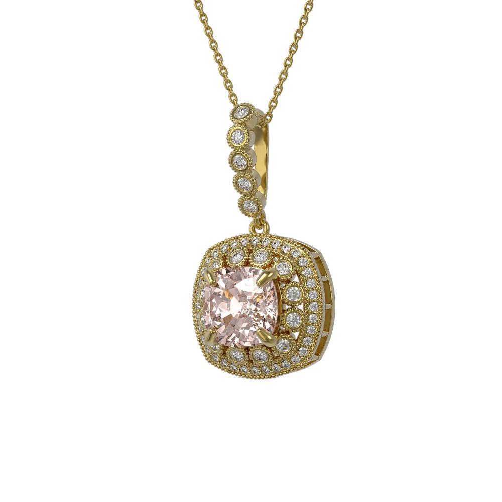 5.83 ctw Morganite & Diamond Necklace 14K Yellow Gold - REF-210K2W - SKU:44023