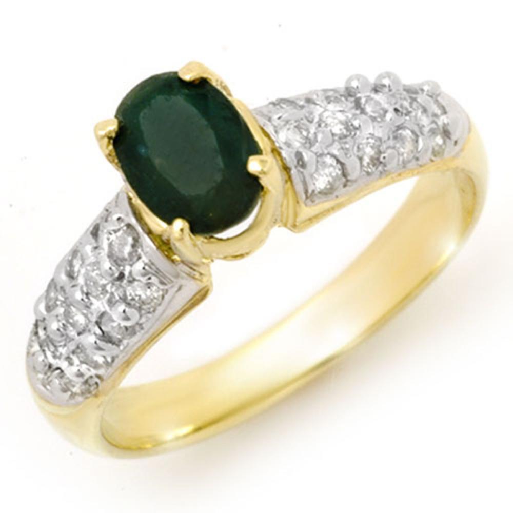 1.50 ctw Emerald & Diamond Ring 10K Yellow Gold - REF-52V7Y - SKU:13263