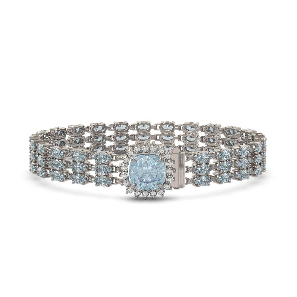 29.89 ctw Sky Topaz & Diamond Bracelet 14K White Gold - REF-232K9W - SKU:45908