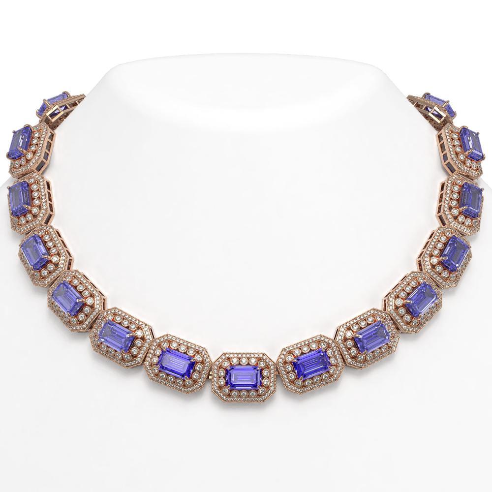 112.65 ctw Tanzanite & Diamond Necklace 14K Rose Gold - REF-3892W4H - SKU:43470