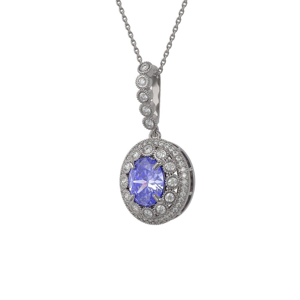 4.77 ctw Tanzanite & Diamond Necklace 14K White Gold - REF-169H8M - SKU:43664