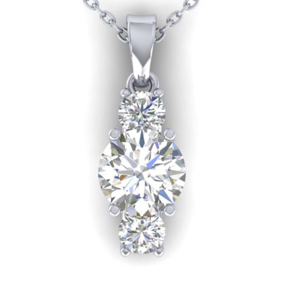 1.50 ctw VS/SI Diamond Art Deco Stud Necklace 14K White Gold - REF-373X9R - SKU:30309