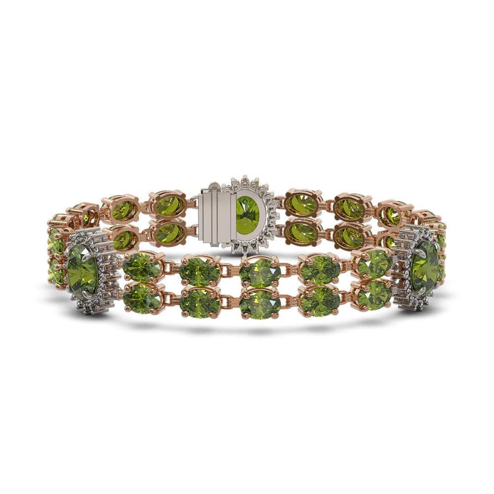 30.69 ctw Tourmaline & Diamond Bracelet 14K Rose Gold - REF-286H5M - SKU:44418
