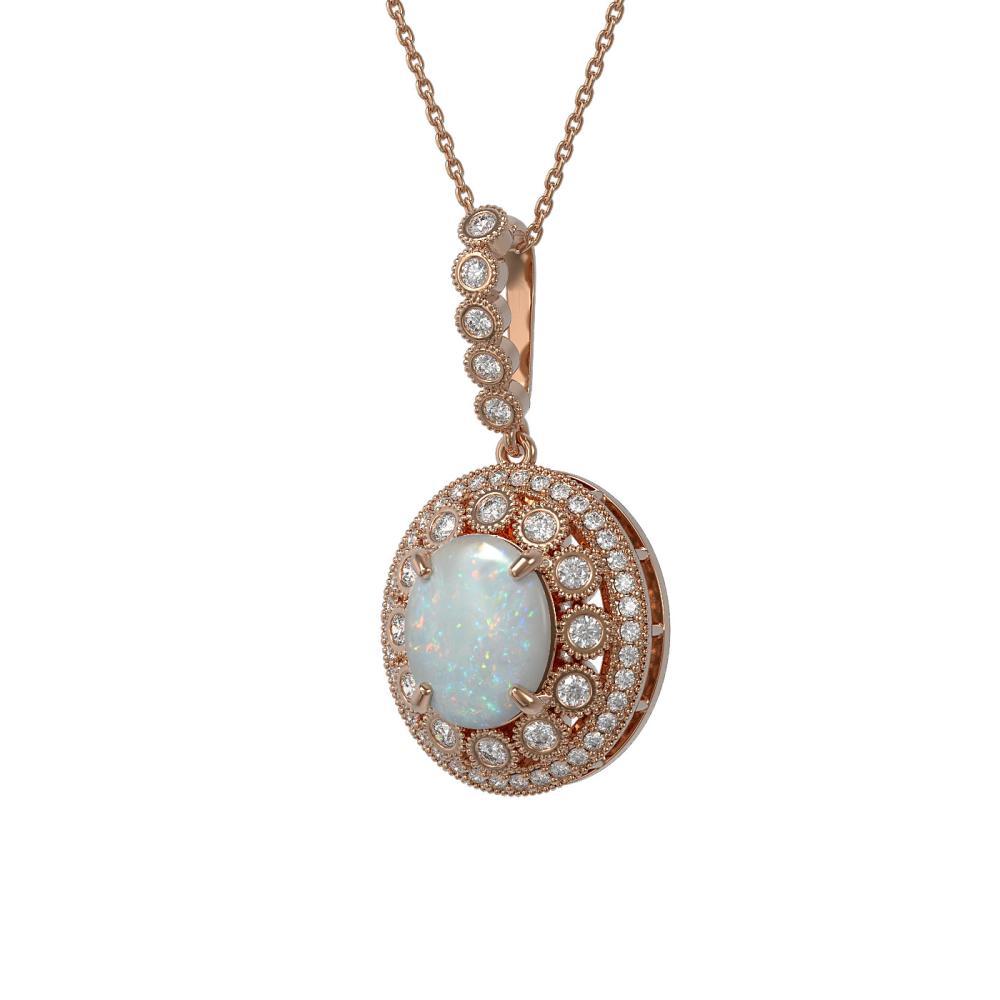 5.13 ctw Opal & Diamond Necklace 14K Rose Gold - REF-182M2F - SKU:43836