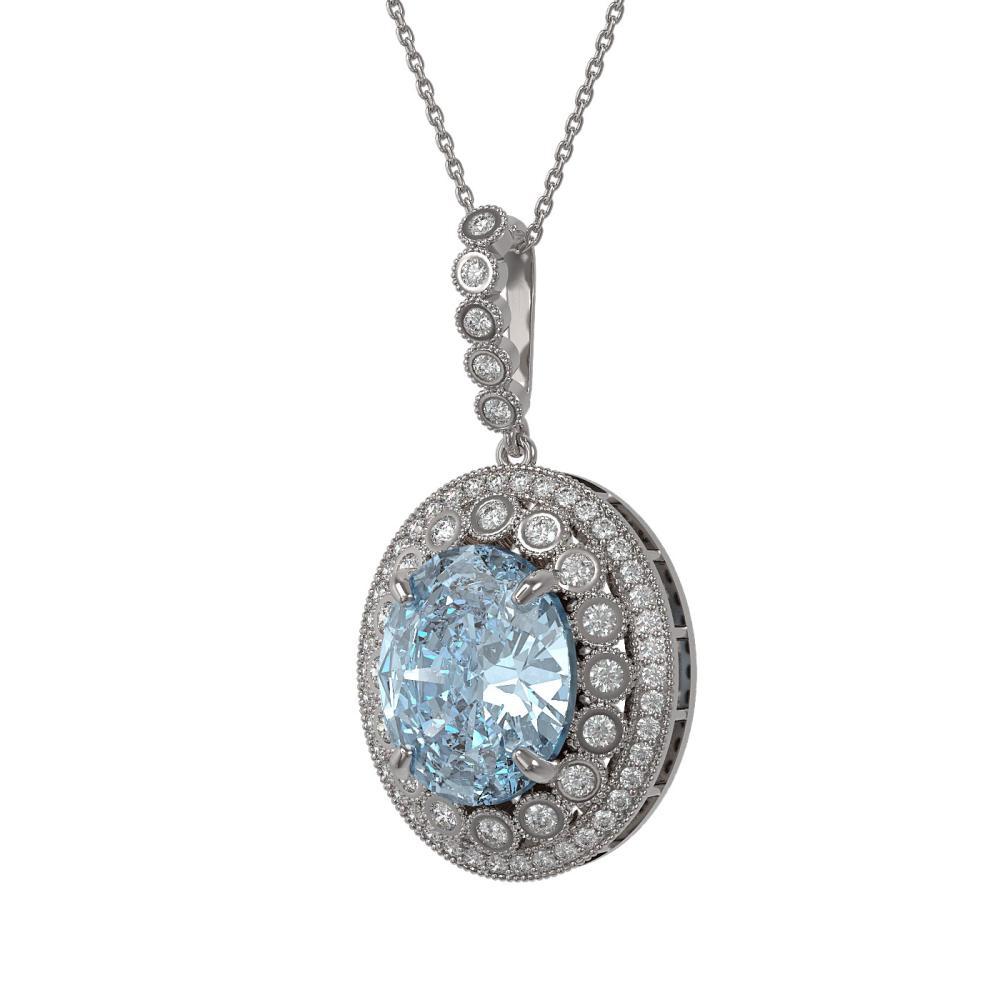 16.72 ctw Sky Topaz & Diamond Necklace 14K White Gold - REF-221N3A - SKU:43868