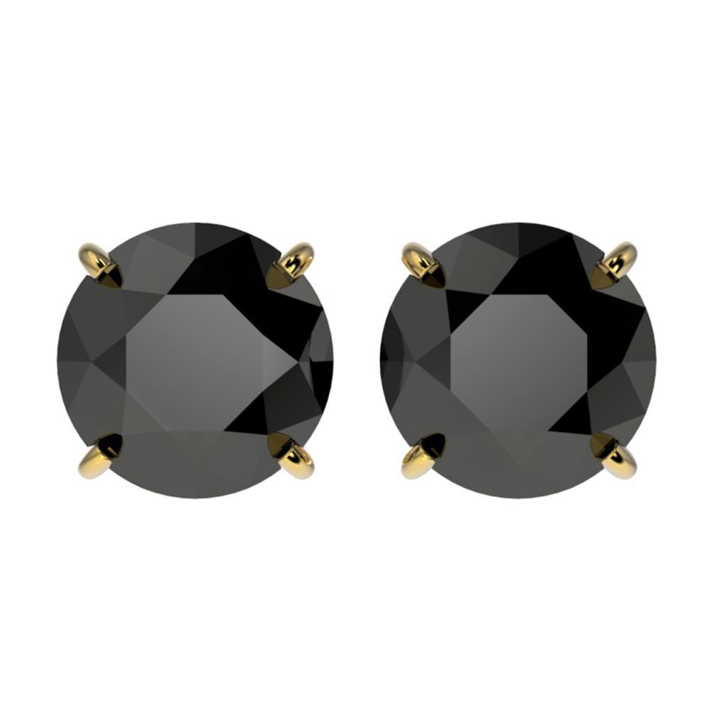 3 ctw Fancy Black Diamond Solitaire Stud Earrings 10K Yellow Gold - REF-73A5V - SKU:33125