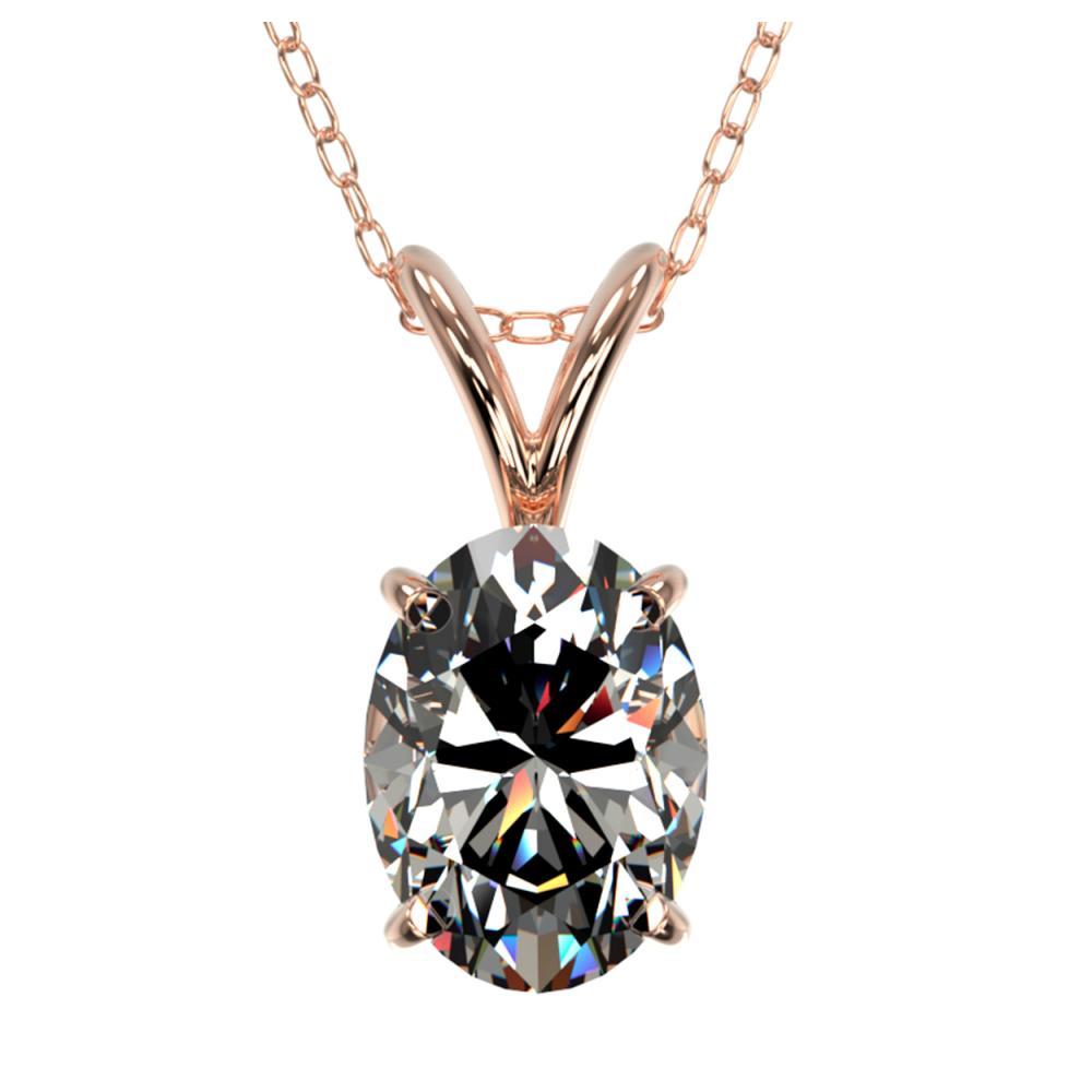 1 ctw VS/SI Oval Diamond Necklace 10K Rose Gold - REF-292K5W - SKU:33193