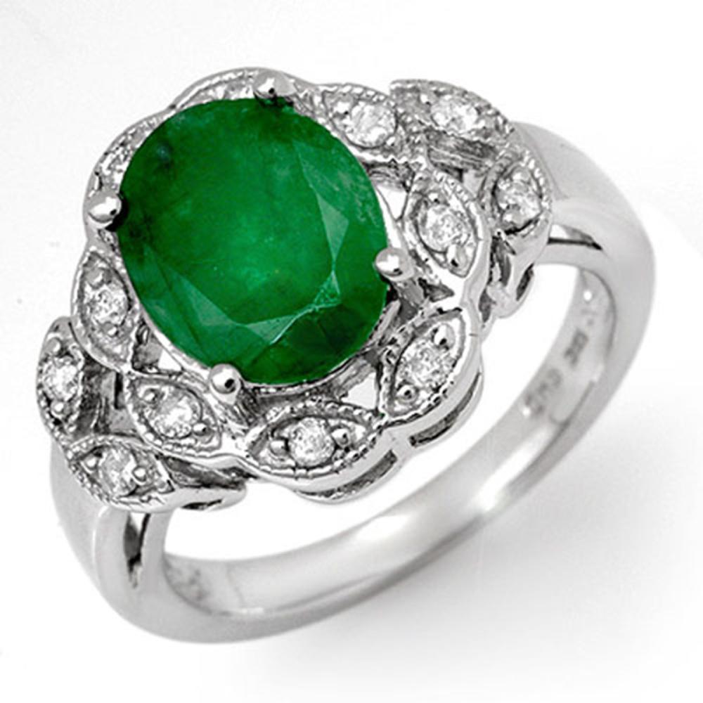 2.75 ctw Emerald & Diamond Ring 18K White Gold - REF-66K2W - SKU:11907