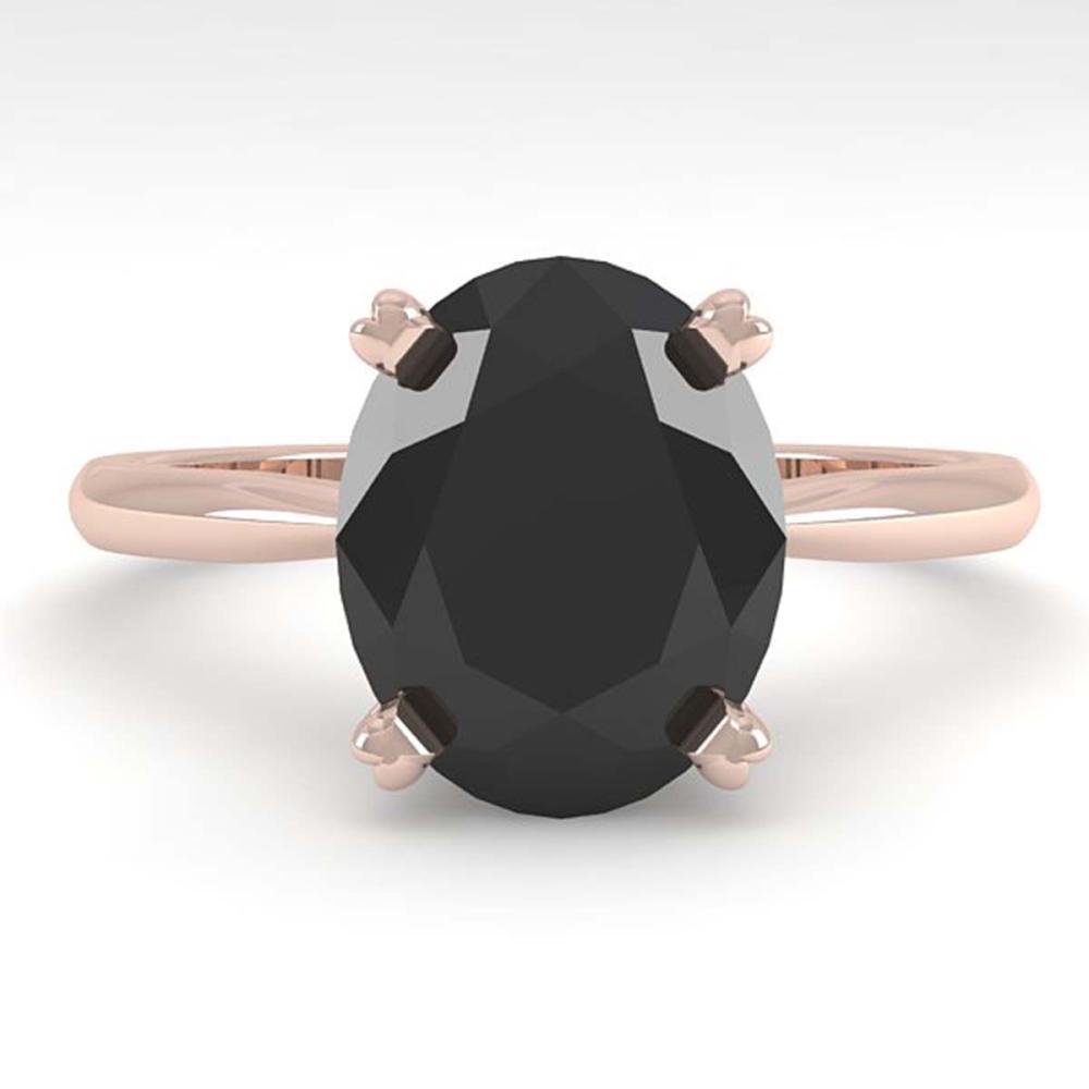 5.0 ctw Oval Black Diamond Ring 18K Rose Gold - REF-147Y2X - SKU:32450