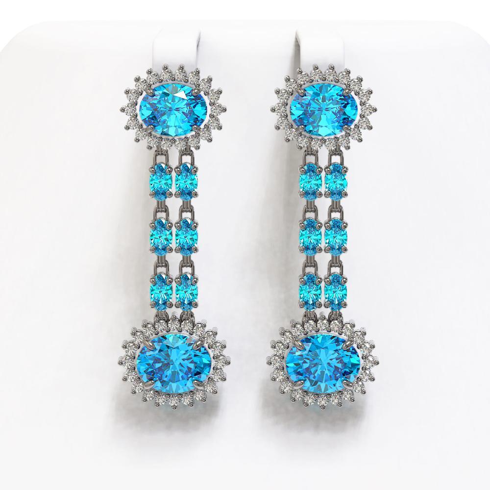 12.82 ctw Swiss Topaz & Diamond Earrings 14K White Gold - REF-176N9A - SKU:44486