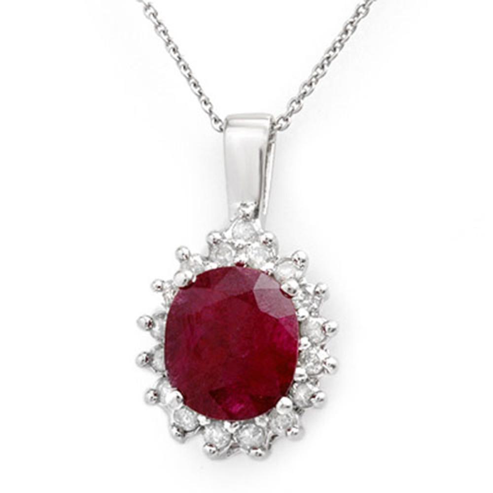 3.70 ctw Ruby & Diamond Pendant 14K White Gold - REF-70H9M - SKU:13830