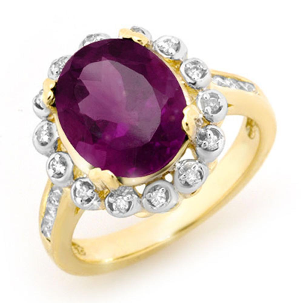 4.33 ctw Amethyst & Diamond Ring 10K Yellow Gold - REF-50M2F - SKU:13443