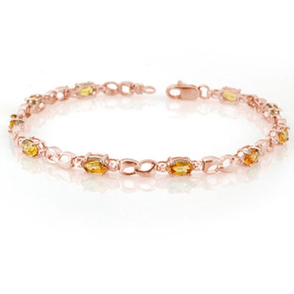 3.51 ctw Yellow Sapphire & Diamond Bracelet 14K Rose Gold - REF-49M5F - SKU:11035