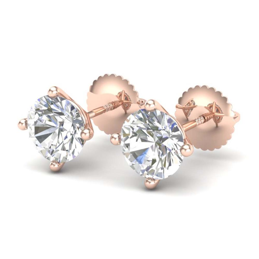 2 ctw VS/SI Diamond Solitaire Art Deco Stud Earrings 18K Rose Gold - REF-591H2M - SKU:37305