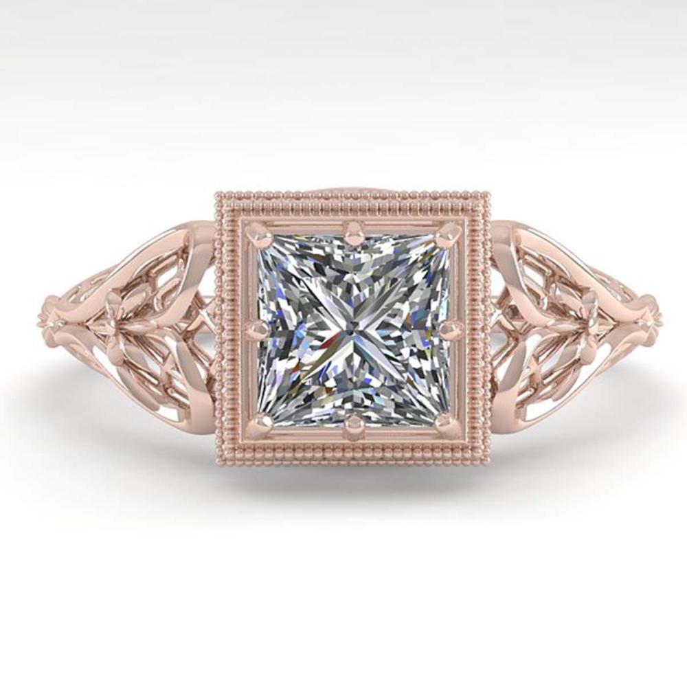 1.0 ctw VS/SI Princess Diamond Art Deco Ring 18K Rose Gold - REF-344Y4X - SKU:36041