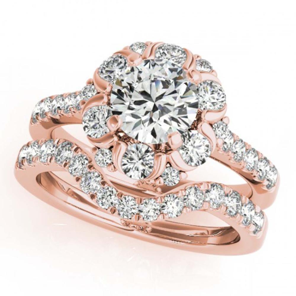 1.97 ctw VS/SI Diamond 2pc Wedding Set Halo 14K Rose Gold - REF-156H8M - SKU:31065
