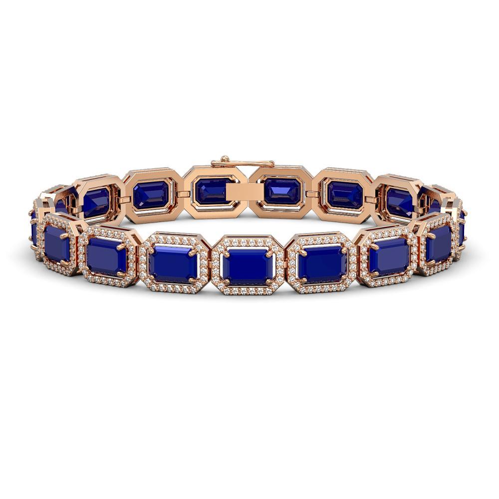 26.21 ctw Sapphire & Diamond Halo Bracelet 10K Rose Gold - REF-343H6M - SKU:41385
