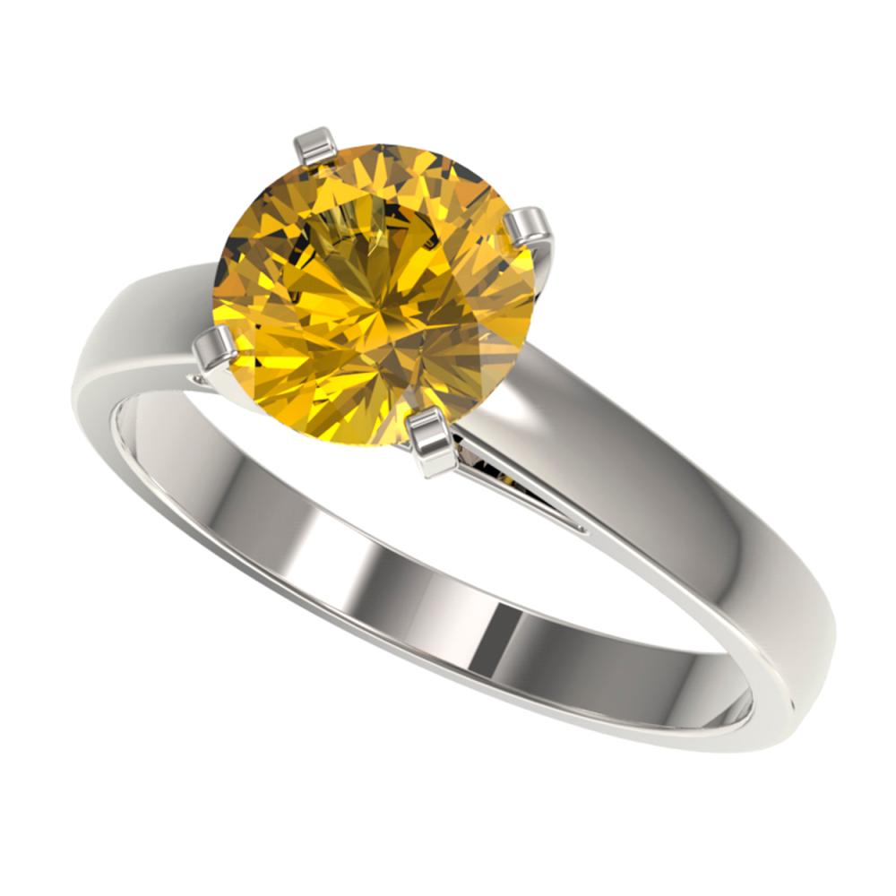 2 ctw Intense Yellow Diamond Ring 10K White Gold - REF-555F2N - SKU:33037