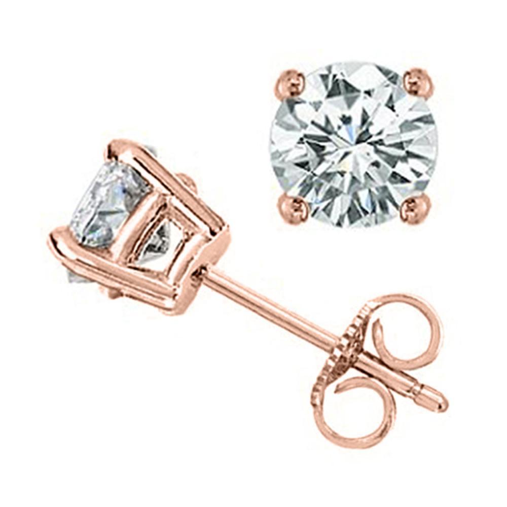 1.0 ctw VS/SI Diamond Stud Earrings 18K Rose Gold - REF-119Y7X - SKU:12801