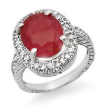 8.0 CTW Ruby & Diamond Ring 14K White Gold - REF-92W4H - 14185