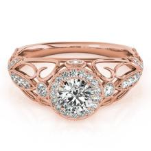 0.93 CTW Certified VS/SI Diamond Solitaire Antique Ring 18K Rose Gold - REF-154R2K - 27328