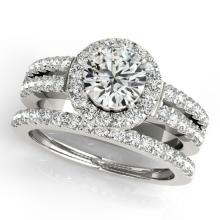 1 CTW Certified VS/SI Diamond 2Pc Wedding Set Solitaire Halo 14K Gold - REF-150M7F - 31130