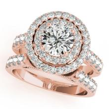 3.42 CTW Certified VS/SI Diamond 2Pc Wedding Set Solitaire Halo 14K Gold - REF-793R8K - 31224