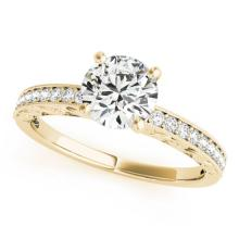 0.96 CTW Certified VS/SI Diamond Solitaire Antique Ring 18K Yellow Gold - REF-199K3R - 27248