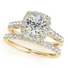 2.05 CTW Certified VS/SI Diamond 2Pc Wedding Set Solitaire Halo 14K Gold - REF-414R2K - 30722