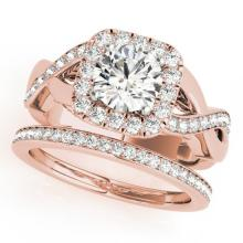 2.35 CTW Certified VS/SI Diamond 2Pc Wedding Set Solitaire Halo 14K Gold - REF-542A4N - 30655