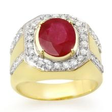 4.75 CTW Ruby & Diamond Men's Ring 10K Yellow Gold - REF-118R2K - 14501