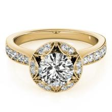 1.5 CTW Certified VS/SI Diamond Solitaire Halo Ring 18K Yellow Gold - REF-404X4Y - 26891