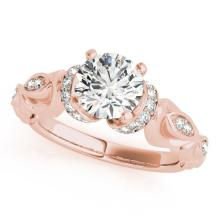 1.2 CTW Certified VS/SI Diamond Solitaire Antique Ring 18K Rose Gold - REF-379Y3X - 27310