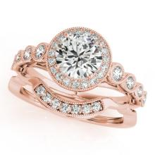 1.15 CTW Certified VS/SI Diamond 2Pc Wedding Set Solitaire Halo 14K Gold - REF-142A7N - 30847