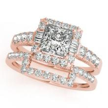 2.02 CTW Certified VS/SI Princess Diamond 2Pc Set Solitaire Halo 14K Gold - REF-463W3H - 31395