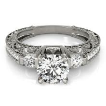 1.15 CTW Certified VS/SI Diamond Solitaire Antique Ring 18K White Gold - REF-224M5F - 27279