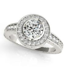 1.11 CTW Certified VS/SI Diamond Solitaire Halo Ring 18K White Gold - REF-216H2W - 26649