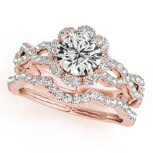 1.93 CTW Certified VS/SI Diamond 2Pc Wedding Set Solitaire Halo 14K Gold - REF-420A4N - 31185