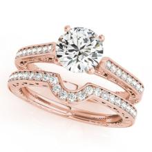 0.57 CTW Certified VS/SI Diamond Solitaire 2Pc Wedding Set Antique Gold - REF-86A5N - 31512