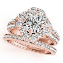 2.38 CTW Certified VS/SI Diamond 2Pc Wedding Set Solitaire Halo 14K Gold - REF-448N4A - 31107