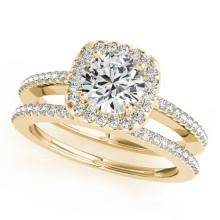 1.42 CTW Certified VS/SI Diamond 2Pc Wedding Set Solitaire Halo 14K Gold - REF-382H7W - 31001