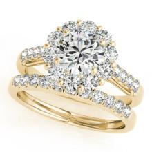 2.39 CTW Certified VS/SI Diamond 2Pc Wedding Set Solitaire Halo 14K Gold - REF-436X9Y - 30743