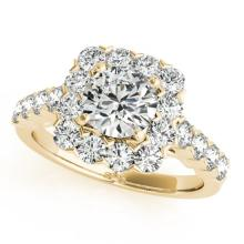 2.22 CTW Certified VS/SI Diamond Solitaire Halo Ring 18K Yellow Gold - REF-271H3W - 26211