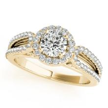 1.15 CTW Certified VS/SI Diamond Solitaire Halo Ring 18K Yellow Gold - REF-204W7H - 26427