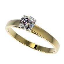 0.53 CTW Certified H-SI/I Quality Diamond Solitaire Engagement Ring Gold - REF-51N3A - 36463