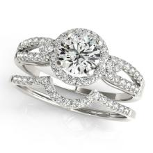 1.36 CTW Certified VS/SI Diamond 2Pc Wedding Set Solitaire Halo 14K Gold - REF-370H7W - 31181